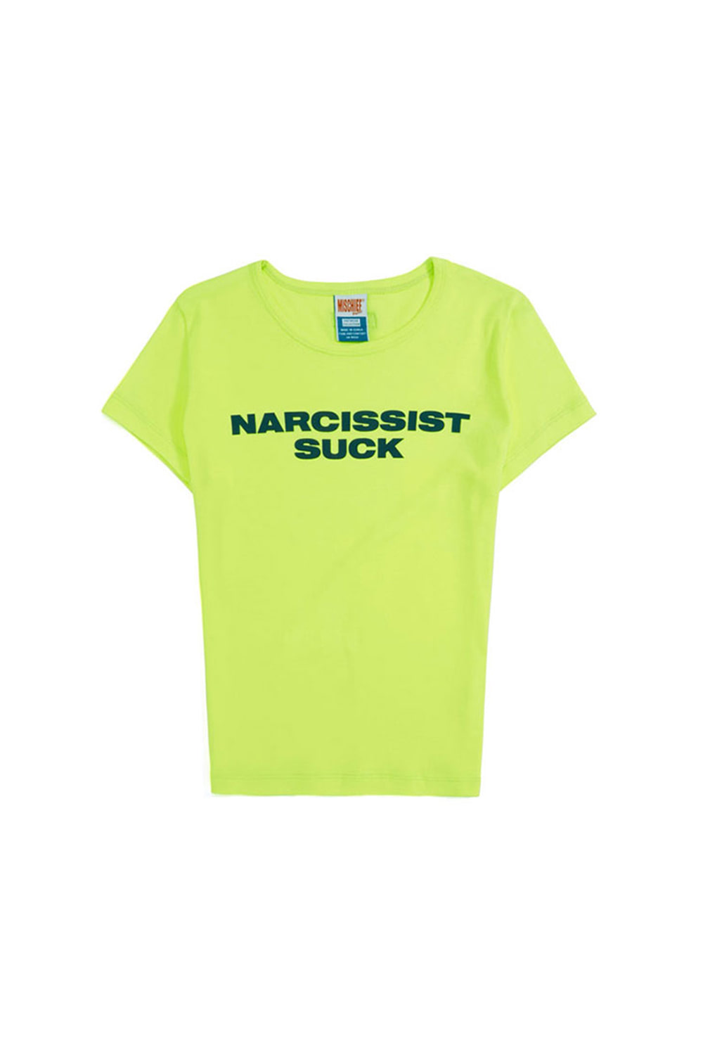FITTED SLOGAN TEE_neon green