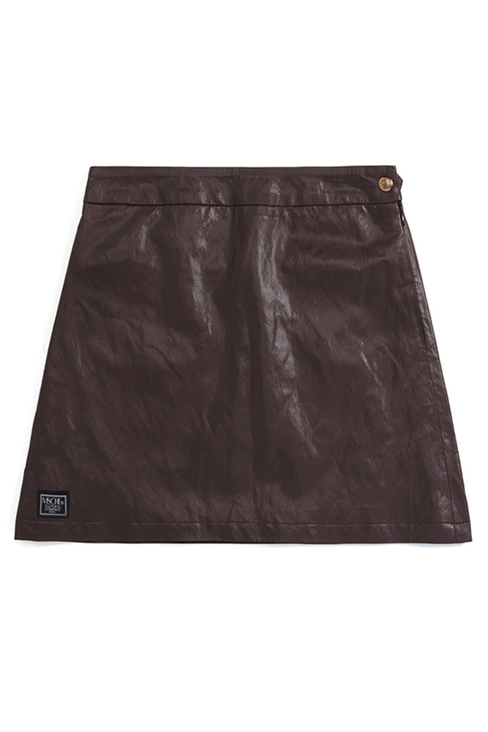 FAUX LEATHER ZIP SKIRT_brown