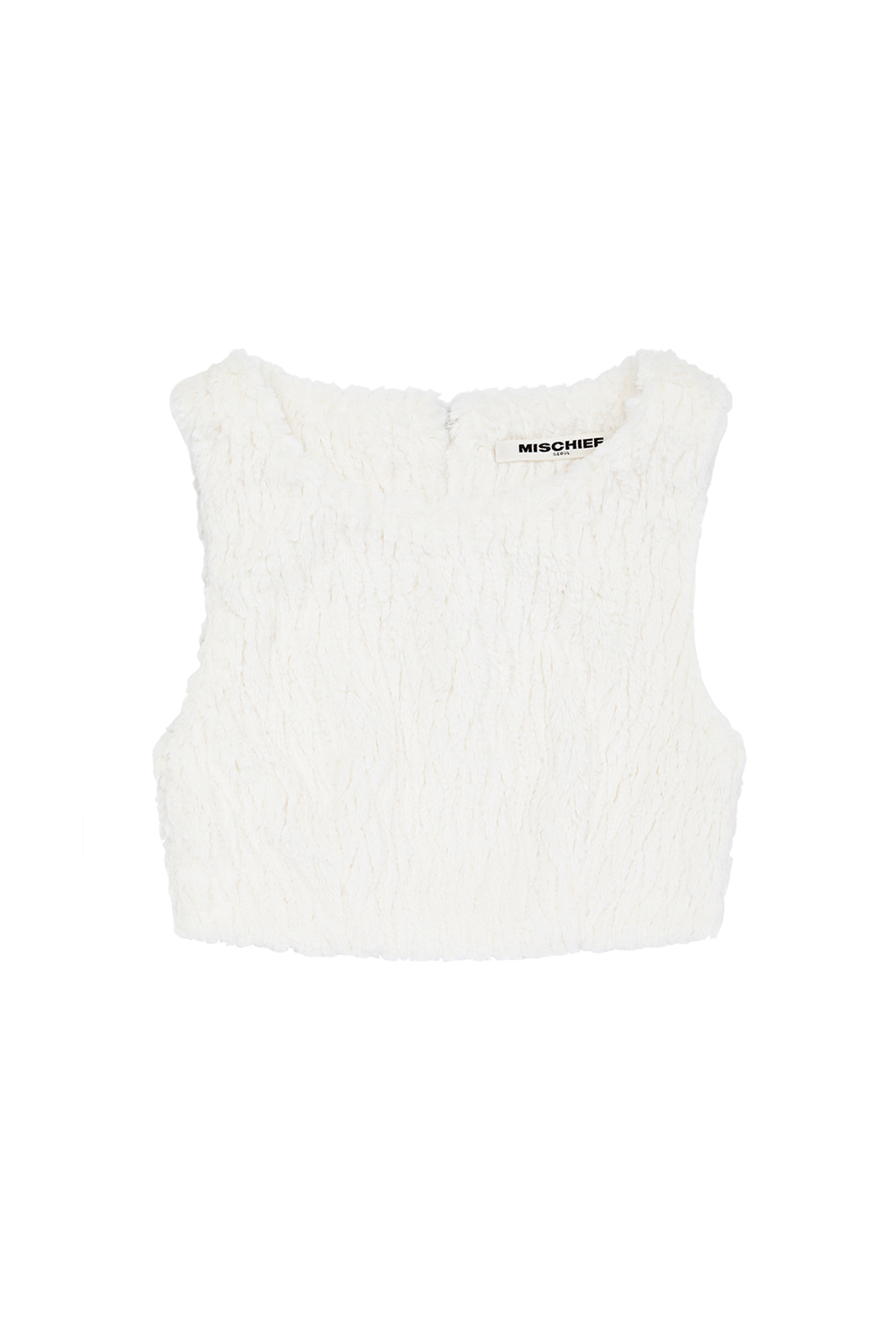 FAUX FUR CROP TOP_white