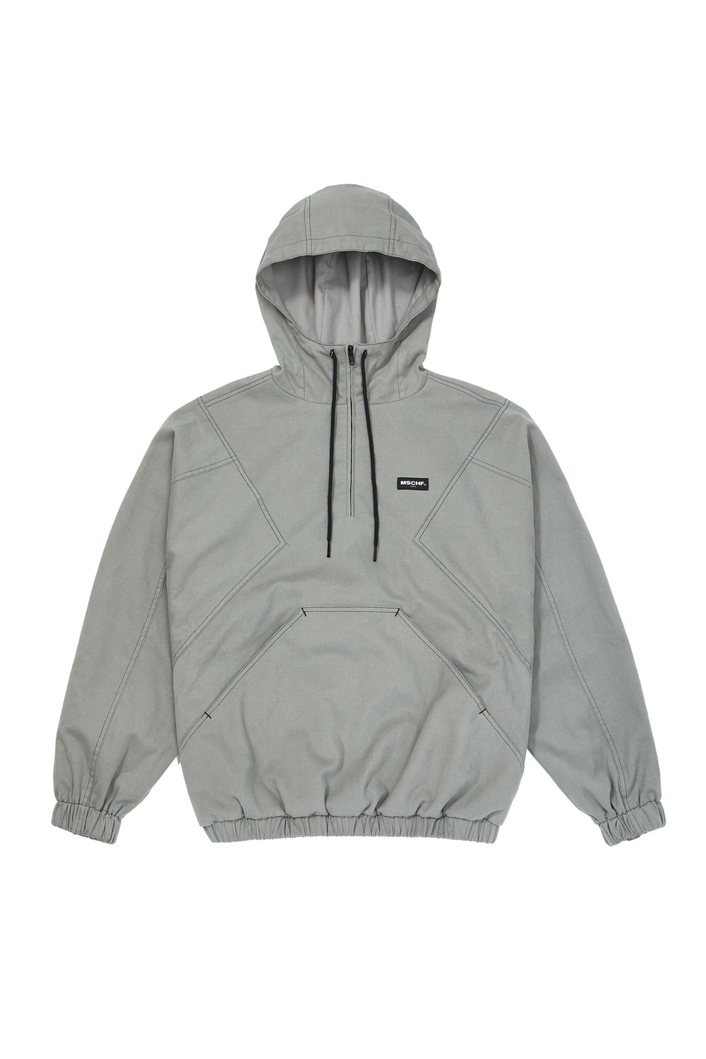 HOODED ANORAK PULLOVER_mint gray