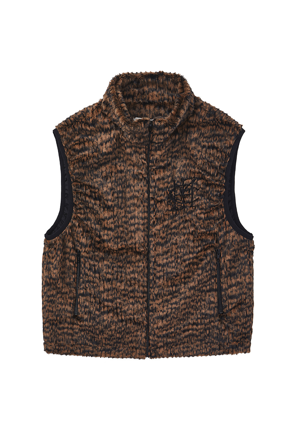 FAUX FUR VEST_light brown/black
