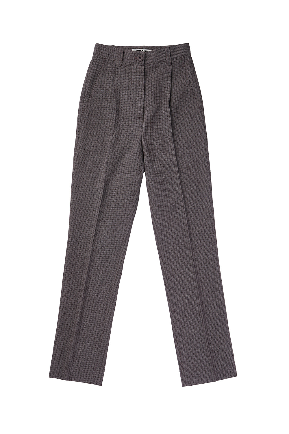 STRIPED LONG SUIT PANTS_pink/gray