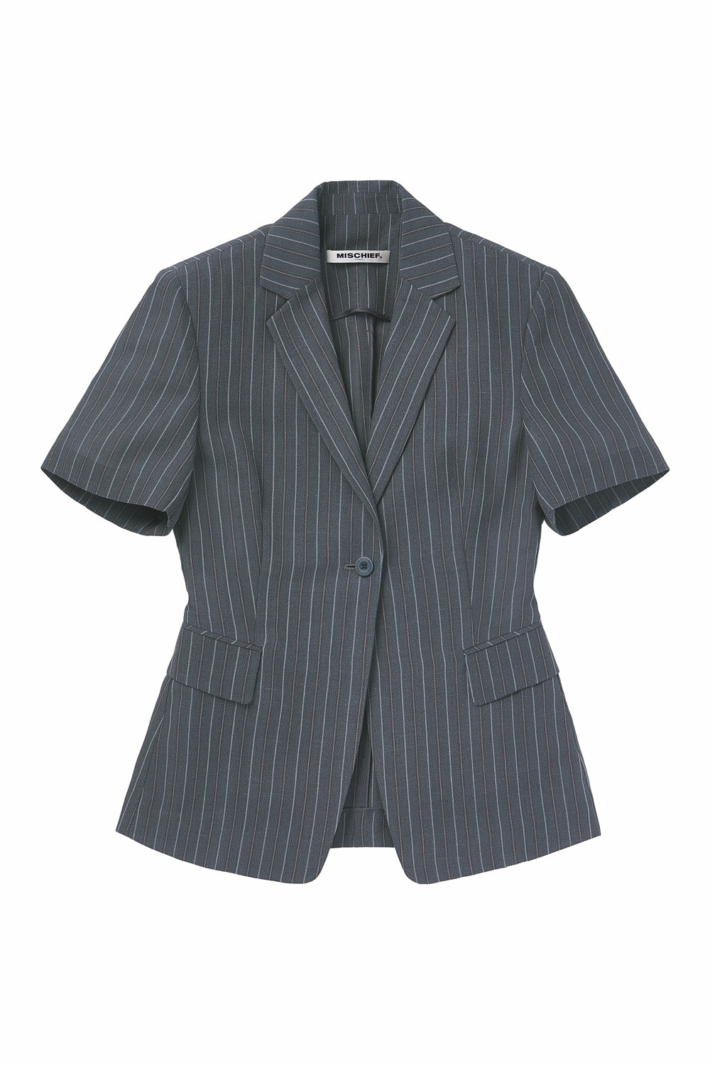 STRIPED SHORT SLEEVE BLAZER_gray
