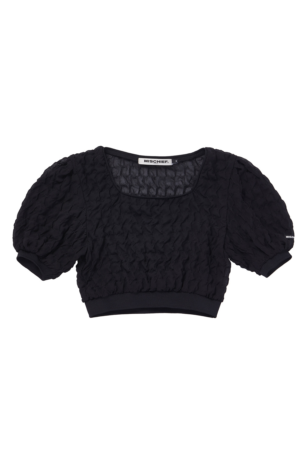 SQUARE NECK CHIFFON TOP_black