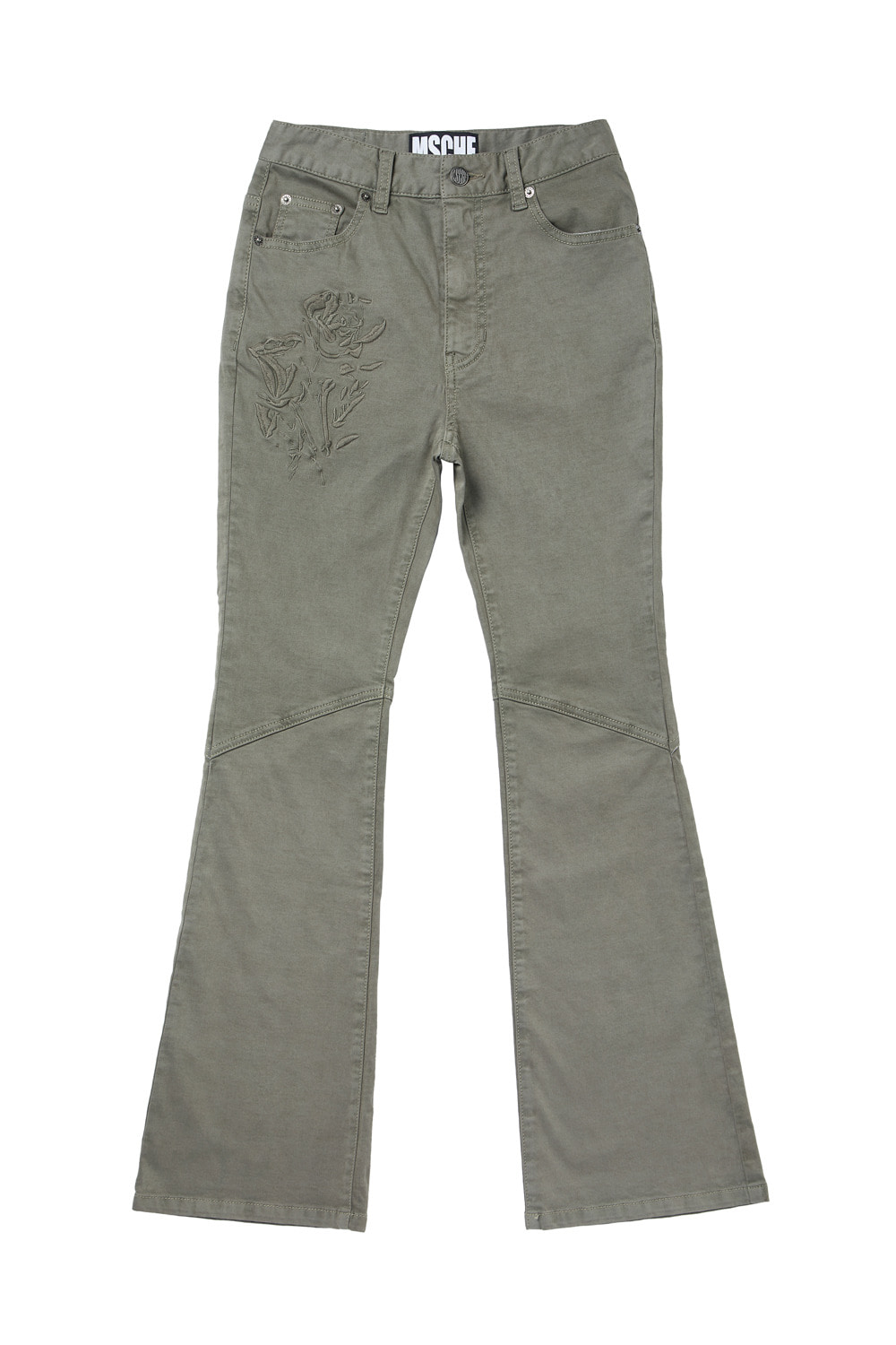ROSE HIGH WAIST BOOTCUT PANTS_khaki