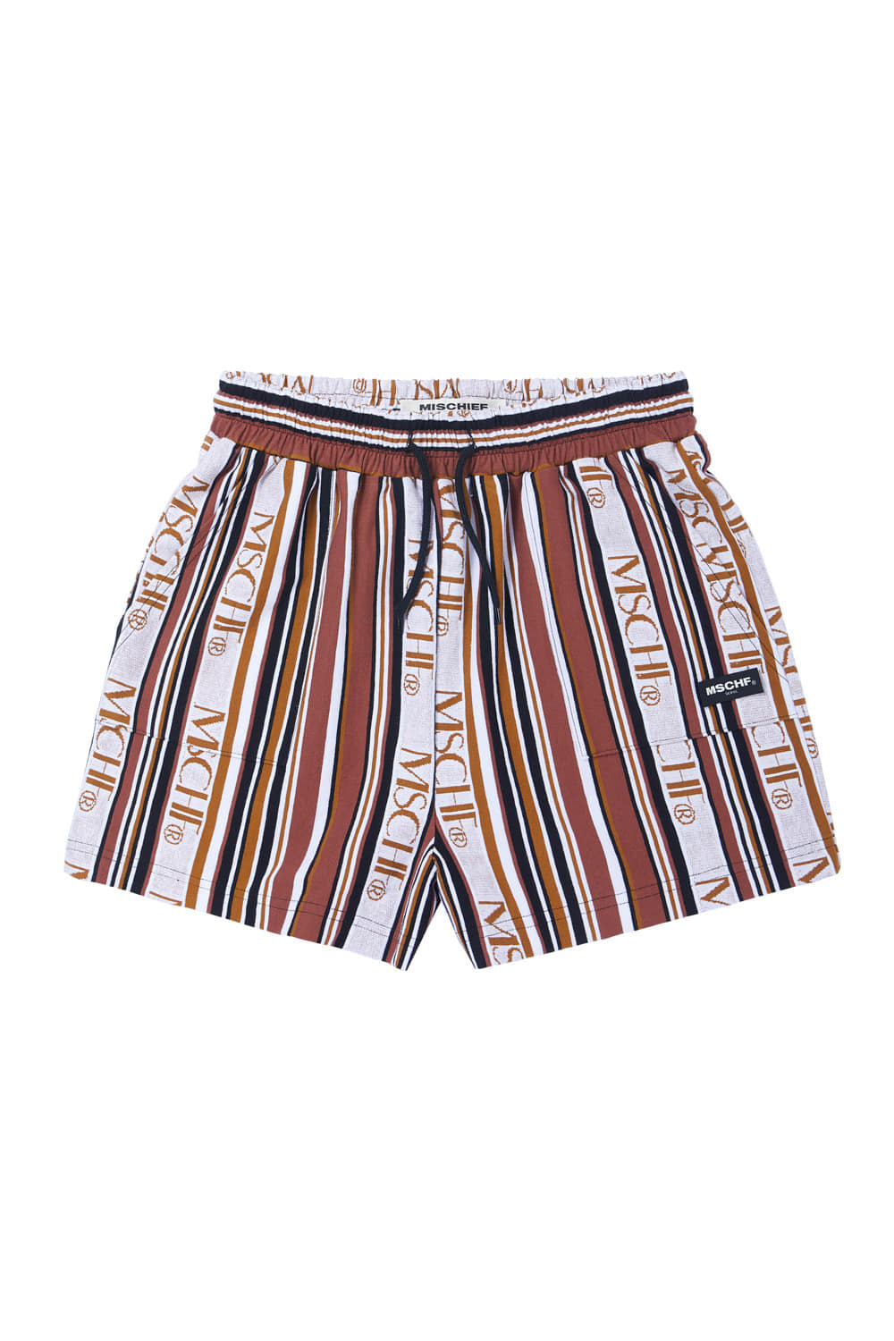STRIPED LOGO TRAINING SHORTS_brown multi
