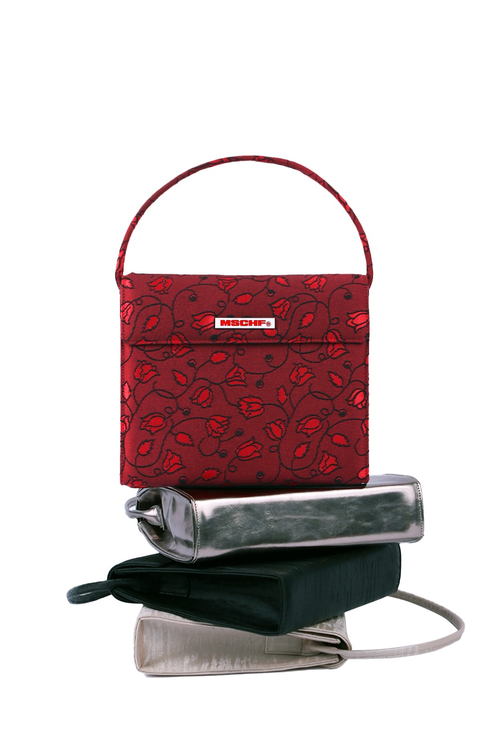 EVENING BAG_jacquard floral crimson red